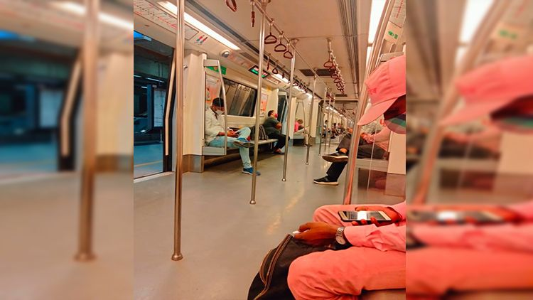 The Metro trains are running at 50% capacity. The plus side to that is, that you get seats easily