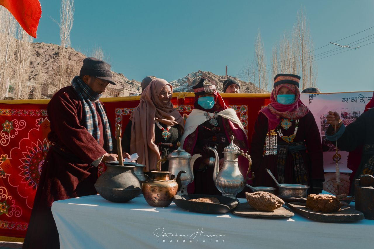 Ladakh's Mamani food festival: women in traditional attire with their dishes