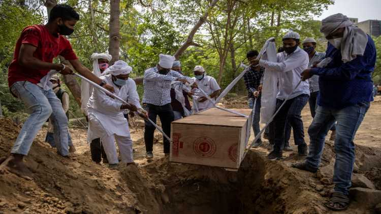 A Muslim corpse being lowered n grave in Covid times