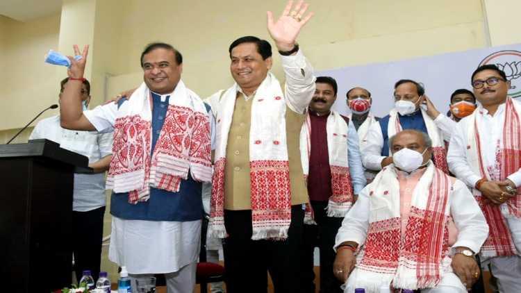 Assam Chief Minister Himanta Biswa Sarma with ex-CM Sarbananda Sonowal today