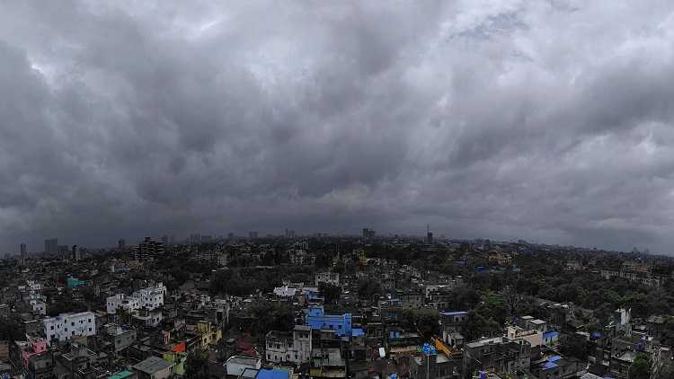 Clouds covering the sky of the city after the landfall of cyclone Yaas, in Kolkata