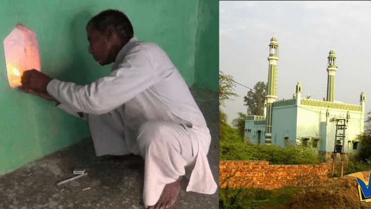 Ramveer Kashyap lighting the lamp at the mosque