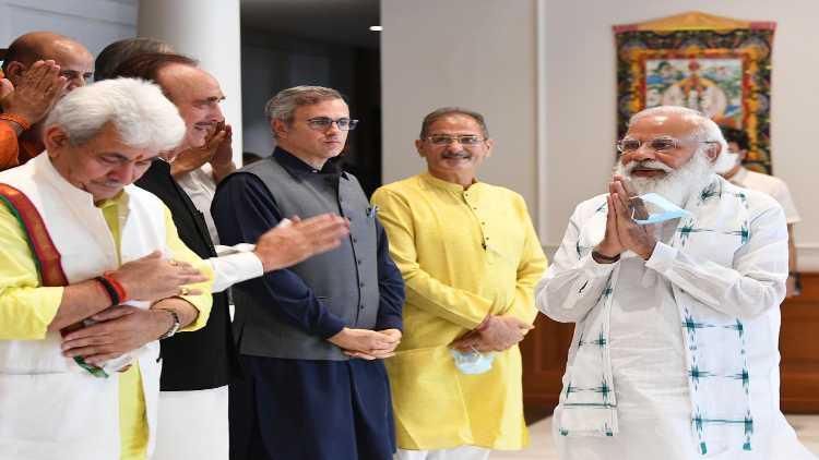 Prime Minister Greeting Congress leader Ghulam Nabi Azad