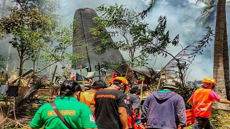 Crash site of a Philippine Air Force C-130 military plane in Sulu Province