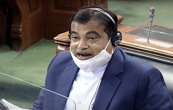 Minister Nitin Gadkari in Parliament