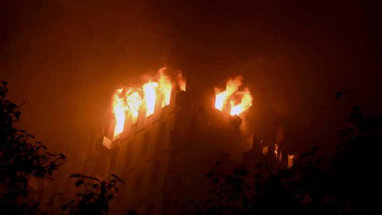 Railway Building on fire in Kolkata