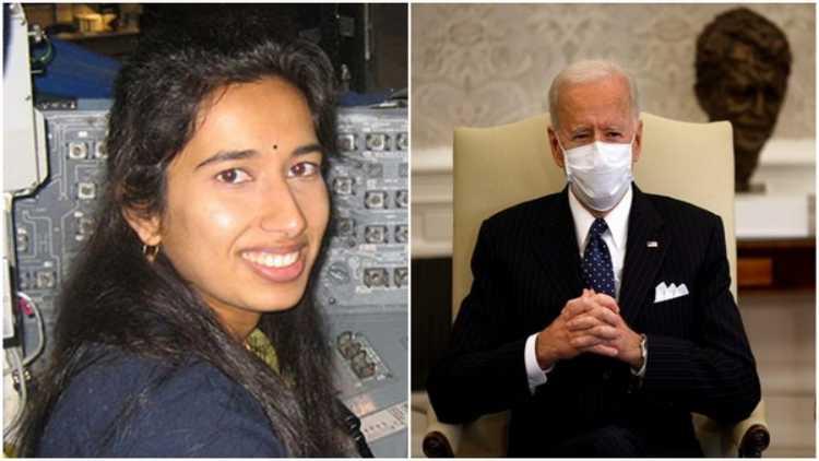 Swati Mohan and Joe Biden