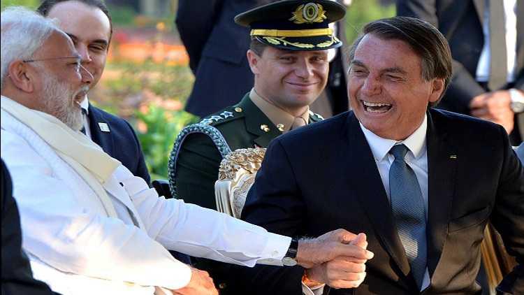 PM Modi shares a moment with the Brazilian President Jair M Bolsonaro during the 71st Republic Day Celebrations at Rashtrapati Bhavan in Jan 2020