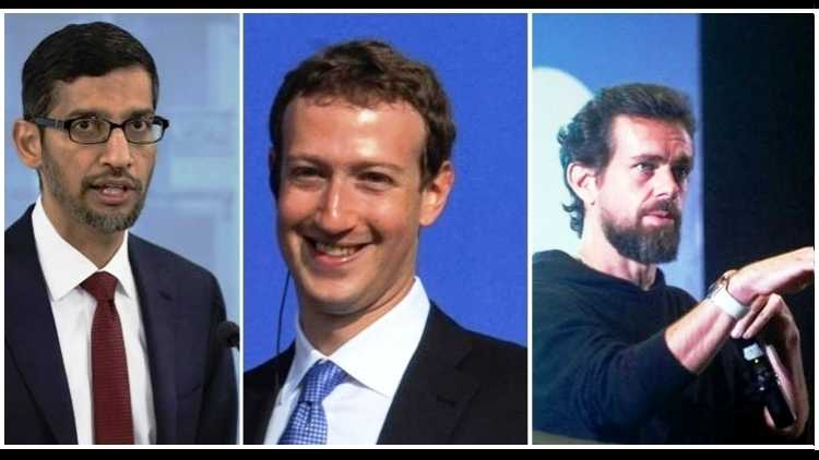 Facebook CEO Mark Zuckerberg, Google and Alphabet CEO Sundar Pichai and Twitter CEO Jack Dorsey