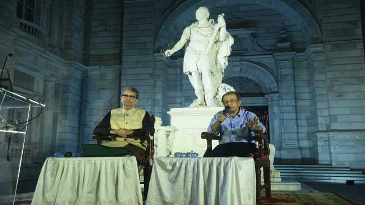 Shahanshah Mirza with a speaker
