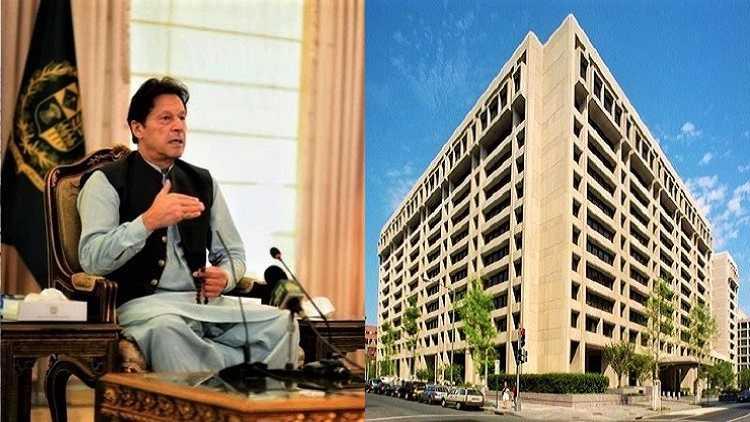 Pak PM Imran Khan (L) & IMF headquarters (2) in Washington, USA (R)