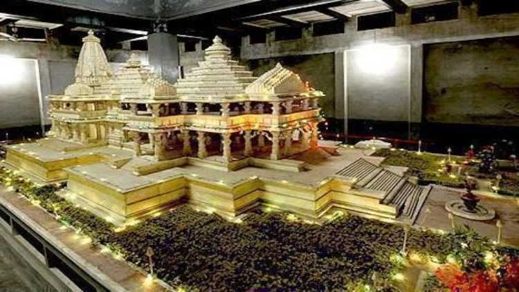 A model of the Ram Janmabhoomi Temple