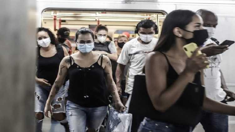 Passengers wearing face masks