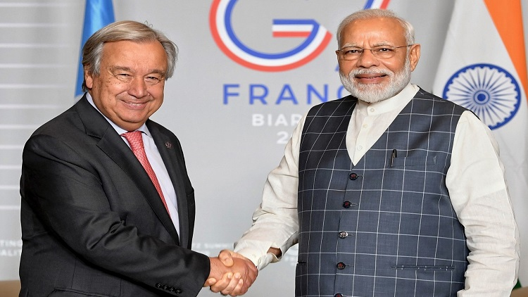 United Nations Secretary General Antonio Guterres with Indian PM Narendra Modi in France in August 2019