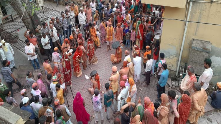 Lathmar Holi festival scene
