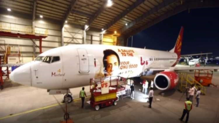 Sonu Sood posters on Spicejet aircraft