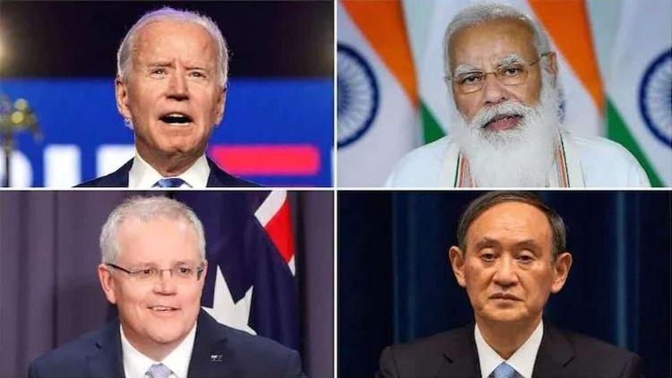 Jeo Biden, Narendra Modi, Yoshihide Suga, and Scott Morrison